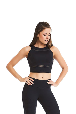 Crop Top ACTIVE STRIPES - Black/White