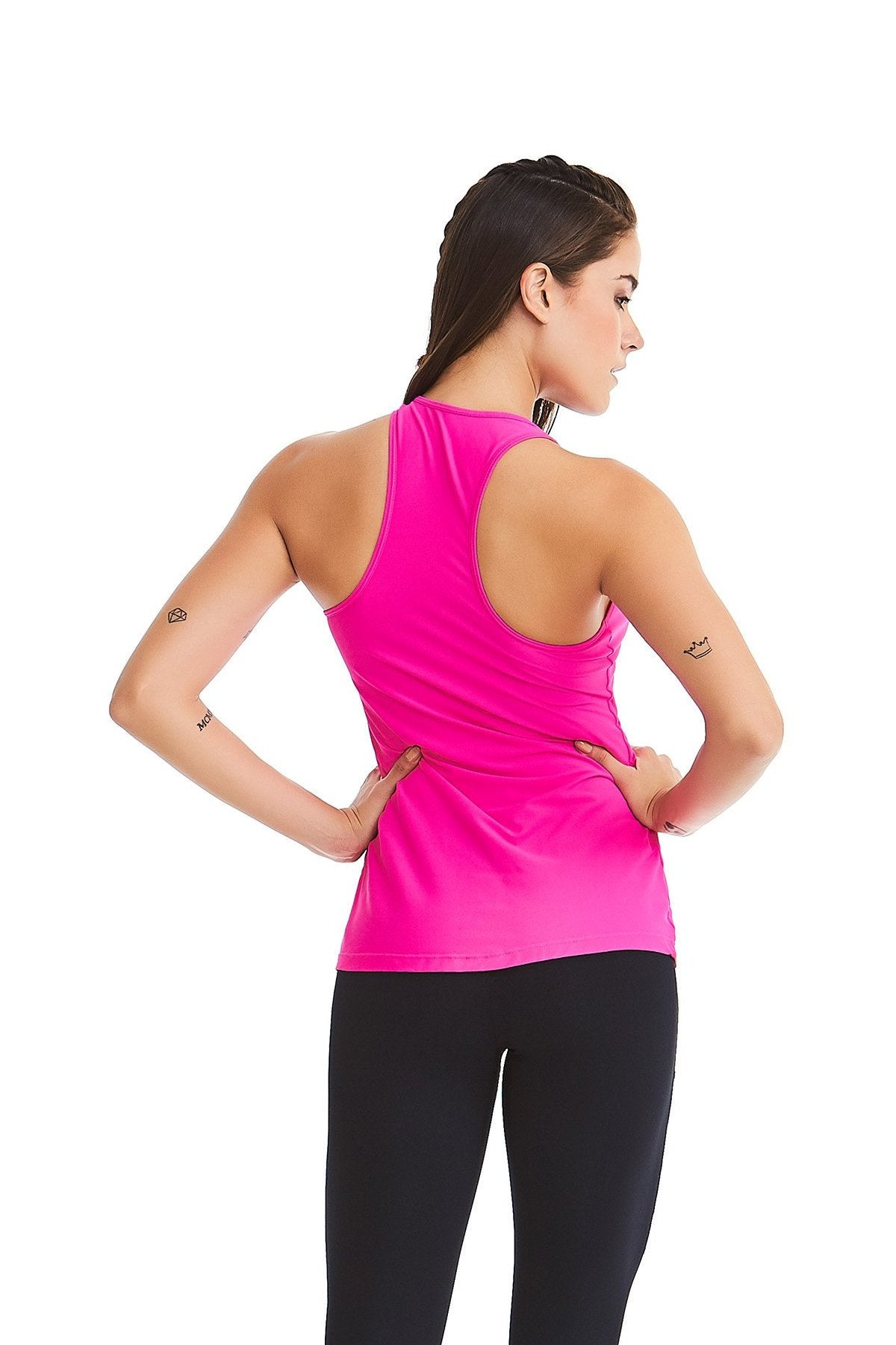CajuBrasil USA Brazilian Fashion Fitness Top Laser LIKES - Pink - UV Protection!