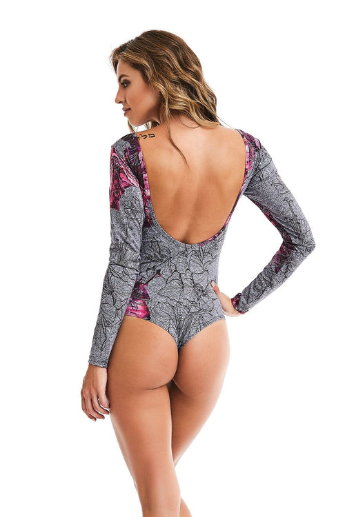 CajuBrasil USA Bodysuit Fitness Fashion Luxury Upscale 9342 Long Sleeve BODY - Rose Marble