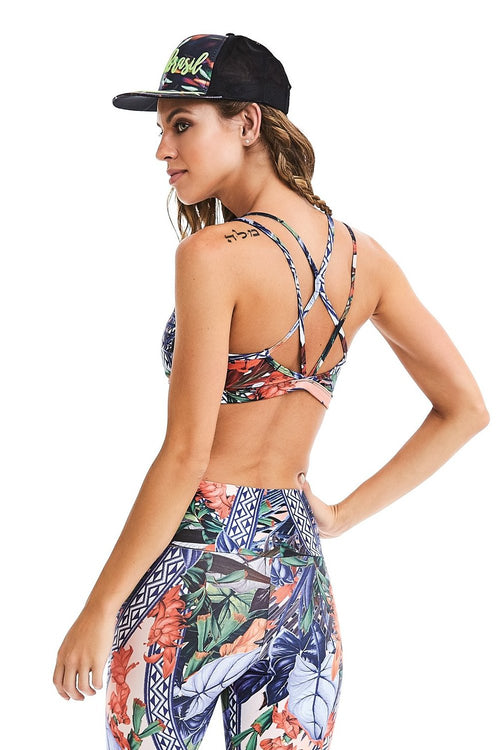 CajuBrasil USA Fashion Fitness Luxury Upscale Bra Top ROCK Zipper - Floral