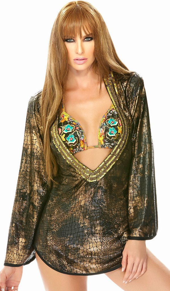 Babalu Fashion USA Colombian GOLDEN Croc Dress Cover Up 13624 Sexy Beach