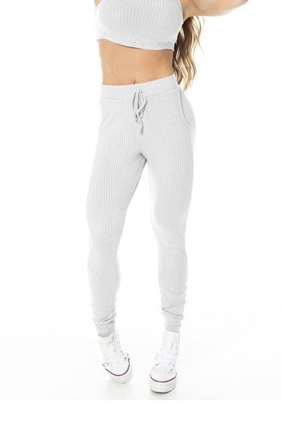 Ribbed Jogger Pants - GABI - Light Grey
