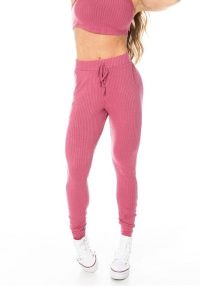 Ribbed Jogger Pants - GABI - Pink