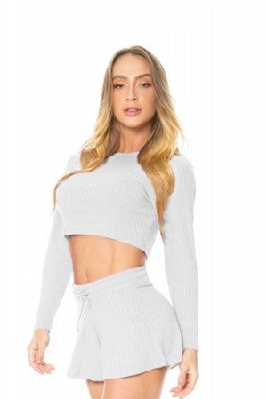 Cropped Long Sleeve Top GABI - Light Grey