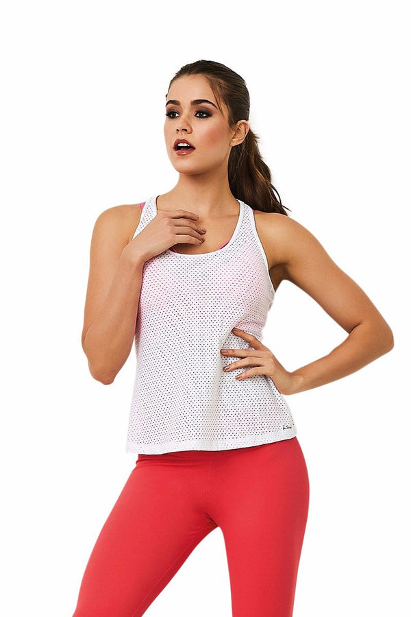 Cajubrasil Brazilian Gym Fashion Fitness Mesh Tank Top - White