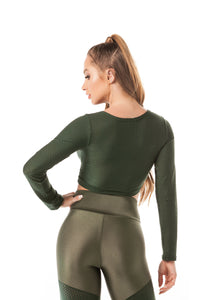 Crop Top AIRY SHINE - Olive Green