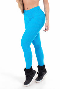 Brazilian Honeycomb Bubble Leggings - Hawaiian Turquoise
