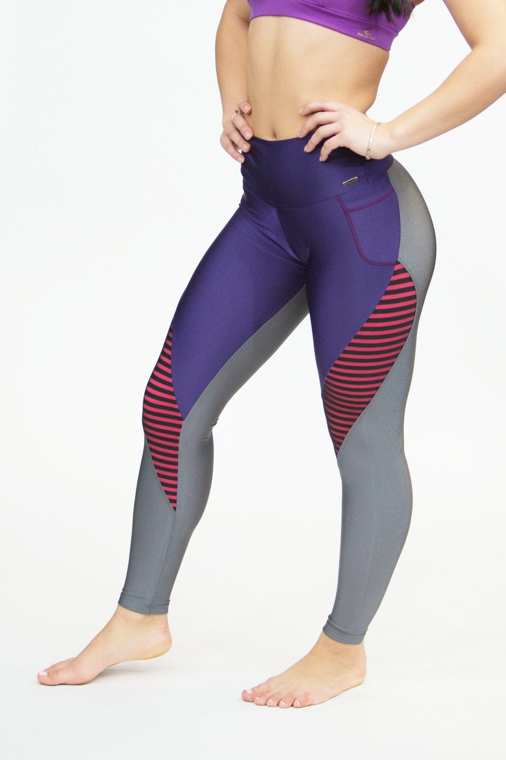 CajuBrasil USA Brazilian Fitness Leggings 7571 Purple High Compression