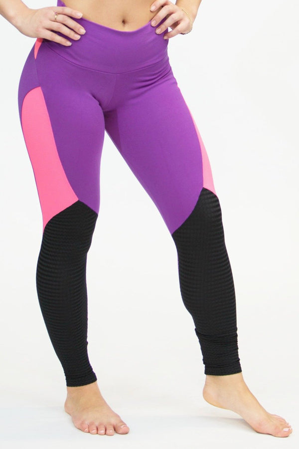 CajuBrasil USA Brazilian Fitness 7547 Supplex Leggings Compression Purple