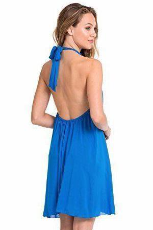 Elan Tie-Neck Flair Dress Cover Up 5197 Sexy Beach BLUE