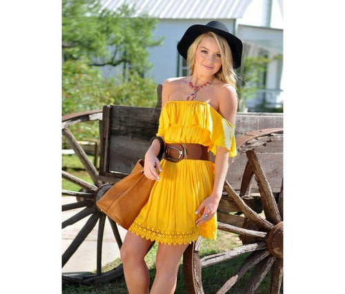 Elan USA Ruffle Top Crochet Dress Cover Up 5131 Sexy Beach YELLOW