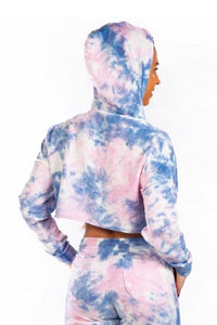 Cropped Long Sleeve Sweater - TieDye - Blue/Pink