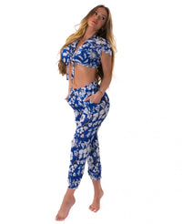 Beach Cover Up Crops - FLOWERY - Blue