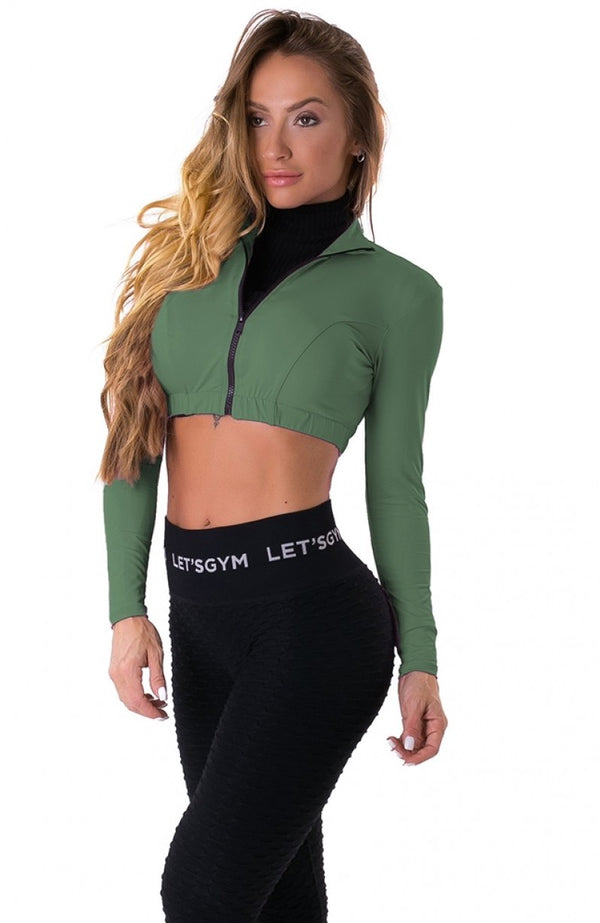 Cropped Long Sleeve Zipper Top - Olive Green