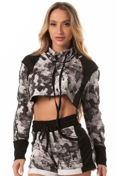 Cropped Long Sleeve Sweater - Grey Camo
