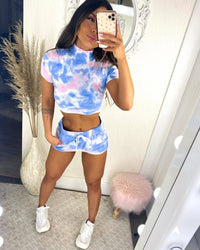Stay Home Sweat Shorts - TieDye - Pink/Blue