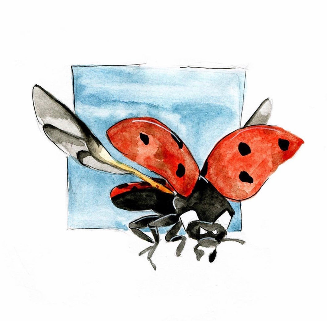 """New York, I Adore!"" Ladybug Watercolor Print"