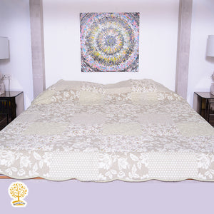 Cream Ornate Floral Print - 1 Piece Reversible Quilt