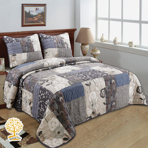 Rustic Floral Patchwork Quilted Bedspread/ Blanket With Pillowcase Set