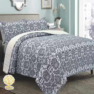 Luxury Collection - Grey Quilted Bedspread/ Blanket With Pillowcase Set