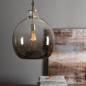 Large Casamotion Hand Blown Light Brown Pendant Lamp