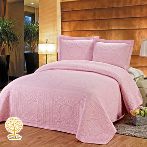 Pink Embroidery 100% Cotton Quilted Bedspread/ Blanket & Pillow Covers