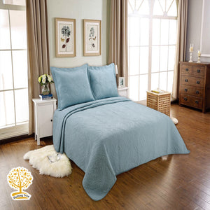 Blue Embroidery 100% Cotton Quilted Bedspread/ Blanket With Pillow Cover Set