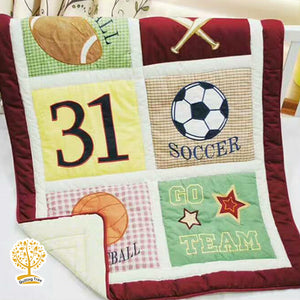 Sports Theme - 100% Cotton baby Quilt / Babysheet