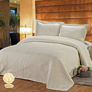 Cream Embroidery Quilted Bedspread With Pillowcase Set