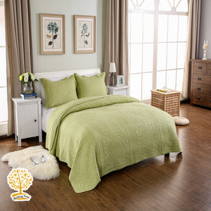 Green Embroidery Quilted Bedspread/ Blanket & Pillowcase Set