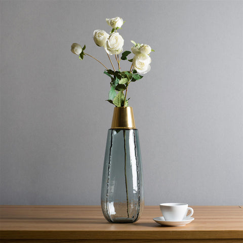 Long Casamotion Hand Blown Light Blue Glass Vase