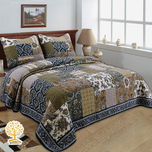 Floral Patchwork Quilted Bedspread/ Blanket With Pillowcase Set