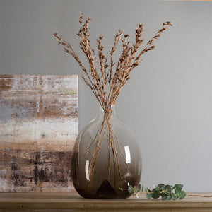 Long Contemporary Style Casamotion Light Brown Centerpiece Glass Vase
