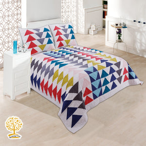 Triangle Pattern Quilted Bedspread/ Blanket With Pillowcase Set