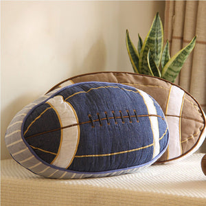 Blue Rugby ball pillow