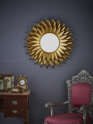 Gold Leaf Accent Wall Mirror