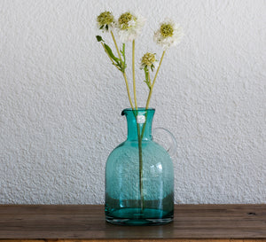 Recycle Green Casamotion Cylinder Glass Flower Vase with Handle for Wedding Table Decoration