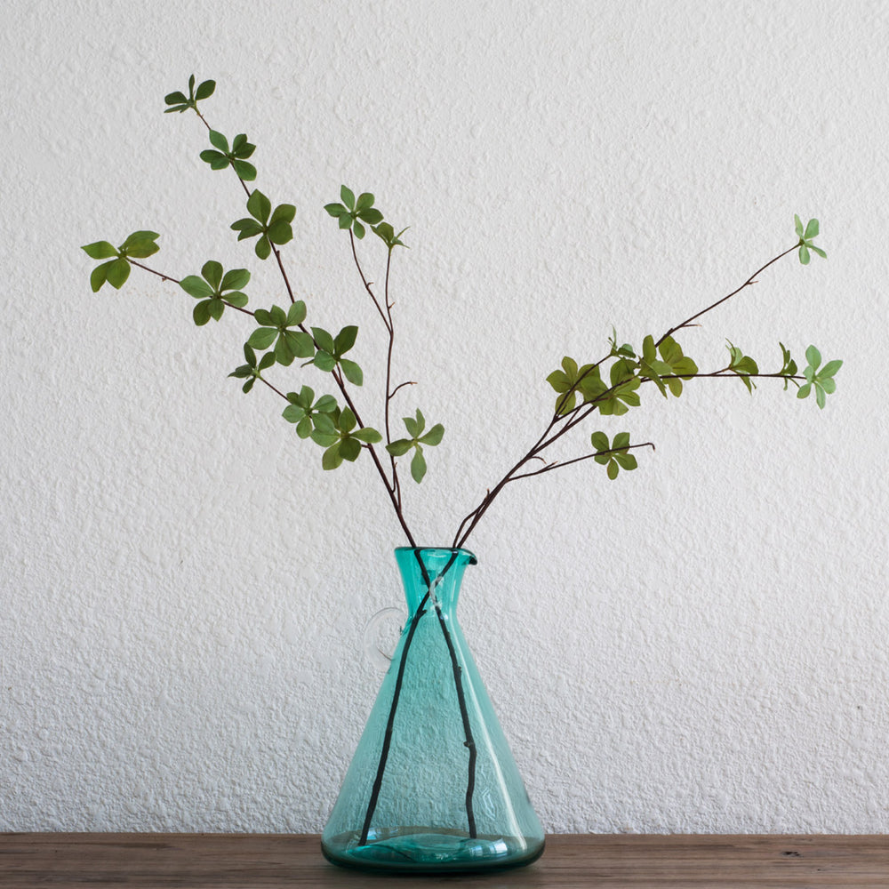 All Home Living & Casamotion Recycle Green Chimney Shaped Glass Flower Vase with Handle for Table Decoration
