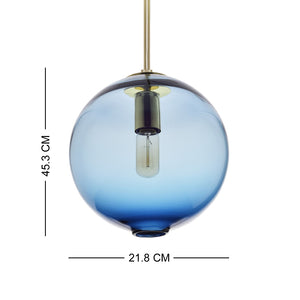 Pendant Lighting Handblown Casamotion Glass Drop ceiling lights, Contemporary Globe Hanging Light, Grey-Blue