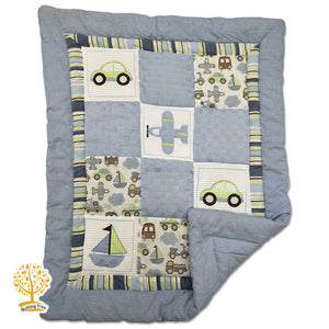 Travel Theme - 100% Cotton Grey Super Soft Baby Quilt / Babysheet