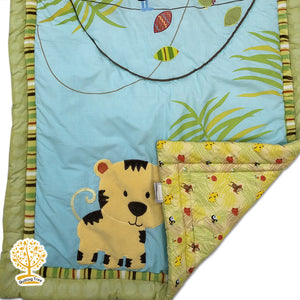 Jungle Theme - 100% Cotton Super Soft Tiger Print Baby Quilt / Babysheet & Pillowcase
