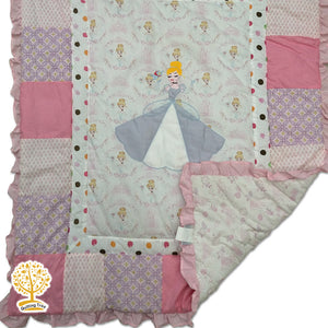 Princess Theme -  100% Cotton Pink Baby Quilt / Babysheet