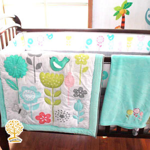 Garden Theme - 100% Cotton Blue Baby Quilt / Babysheet