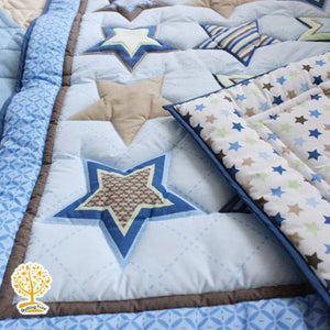 Star Theme - 100% Cotton Blue Super Soft Baby Quilt / Babysheet