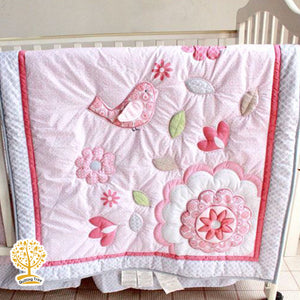 Garden Theme - 100% Cotton Pink Flower Baby Quilt / Babysheet & Pillowcase