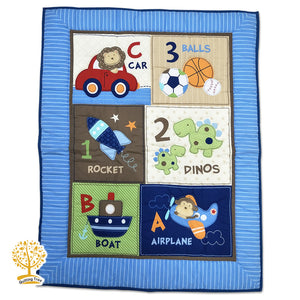 Cartoon Theme - 100% Cotton Navy Blue Baby Quilt / Babysheet & Pillowcase