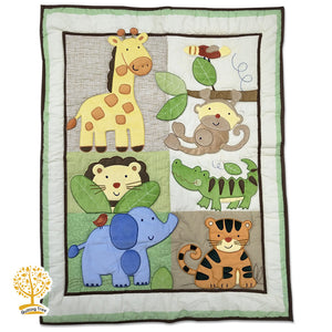 Jungle Theme - 100% Cotton Super Soft Baby Quilt & Pillowcase / Babysheet