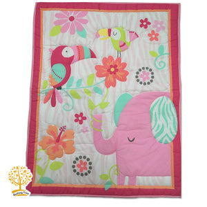 Animal Theme - 100% Cotton Pink Baby Quilt / Babysheet & Pillowcase