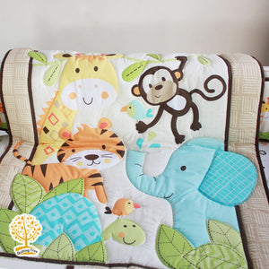 Jungle Theme - 100% Cotton Multicolor  Super Soft Baby Quilt / Babysheet  & Pillowcase