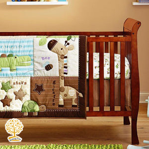 Animal Theme - 100% Cotton Brown Baby Quilt / Babysheet & Pillowcase